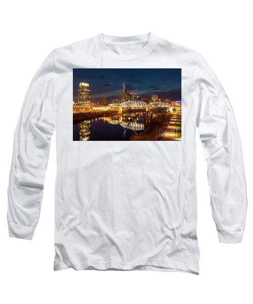 Long Sleeve T-Shirt featuring the photograph Nashville Twilight Skyline II by Brian Jannsen
