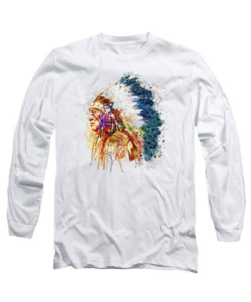 Native American Chief Side Face Long Sleeve T-Shirt by Marian Voicu