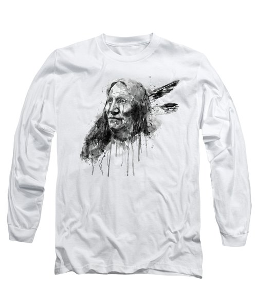 Long Sleeve T-Shirt featuring the mixed media Native American Portrait Black And White by Marian Voicu