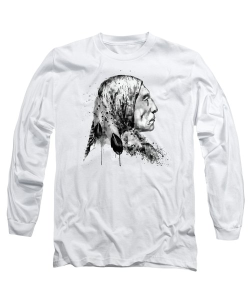 Native American Side Face Black And White Long Sleeve T-Shirt