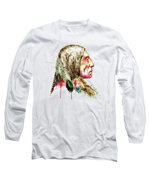 Native American Side Face Long Sleeve T-Shirt