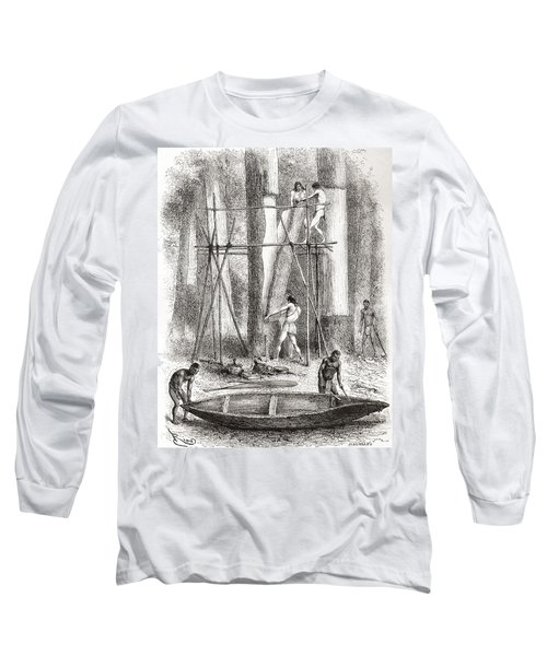 Native Indians Building A Canoe Long Sleeve T-Shirt