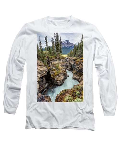 Long Sleeve T-Shirt featuring the photograph Natural Flow Of Athabasca Falls by Pierre Leclerc Photography