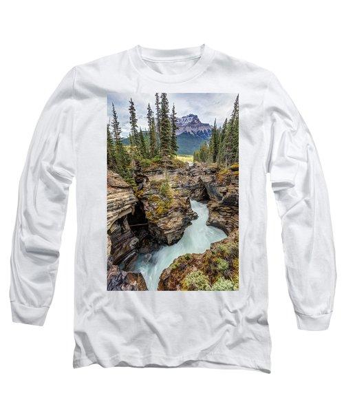 Natural Flow Of Athabasca Falls Long Sleeve T-Shirt