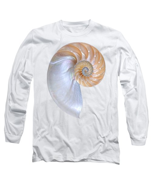 Natural Nautilus On White Vertical Long Sleeve T-Shirt