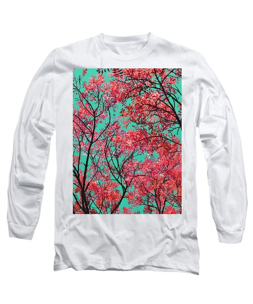 Natures Magic - Fire Red Long Sleeve T-Shirt by Rebecca Harman