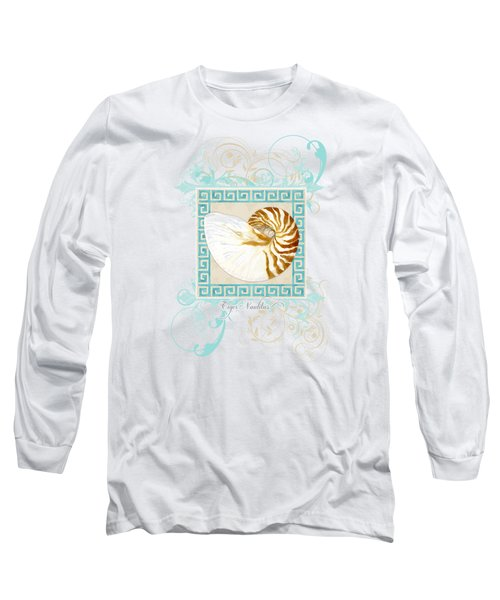 Long Sleeve T-Shirt featuring the painting Nautilus Shell Greek Key W Swirl Flourishes by Audrey Jeanne Roberts