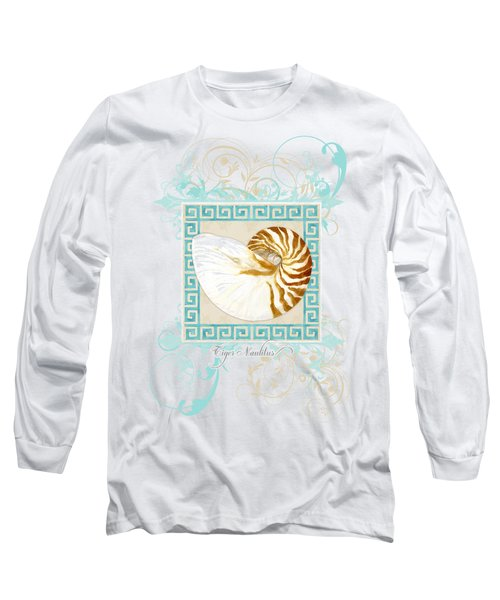 Nautilus Shell Greek Key W Swirl Flourishes Long Sleeve T-Shirt