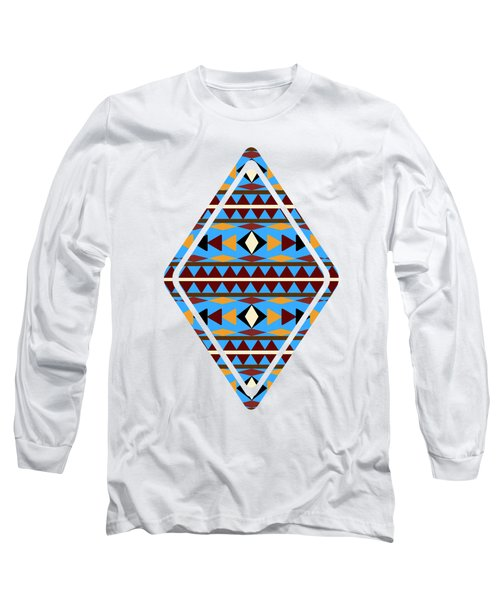 Navajo Blue Pattern Art Long Sleeve T-Shirt