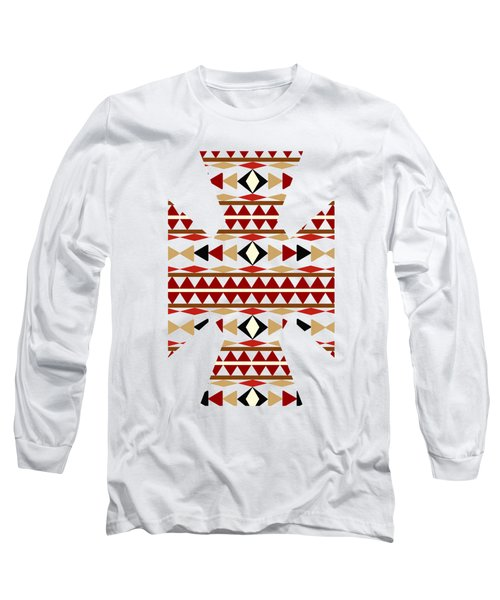 Navajo White Pattern Art Long Sleeve T-Shirt