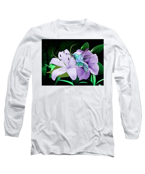 Long Sleeve T-Shirt featuring the mixed media Navigation Humming Bird by Marvin Blaine