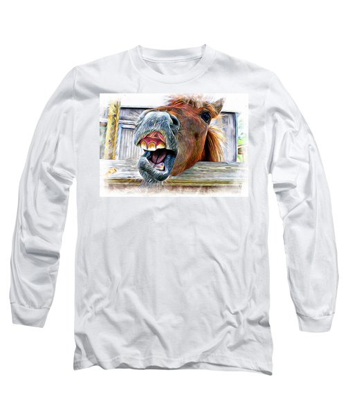 Long Sleeve T-Shirt featuring the mixed media Nay Sayer by Aaron Berg
