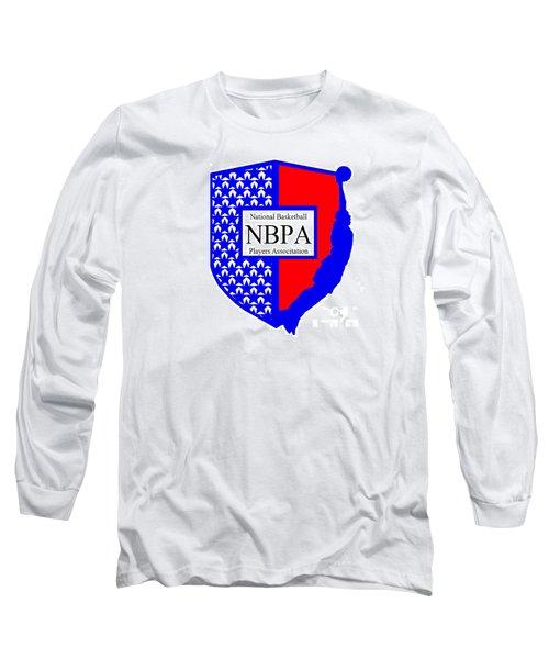 Long Sleeve T-Shirt featuring the digital art Nbpa Logo Redesign Sample by Tamir Barkan