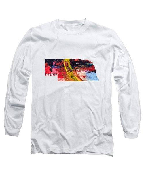 Nebraska Map Art - Painted Map Of Nebraska Long Sleeve T-Shirt
