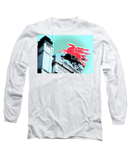 Neon Pegasus Atop Magnolia Building In Dallas Texas Long Sleeve T-Shirt