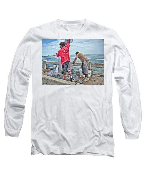 Net Fishing On Cortez Bridge  Long Sleeve T-Shirt by Glenn Gemmell