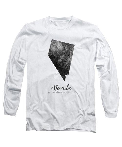Nevada State Map Art - Grunge Silhouette Long Sleeve T-Shirt