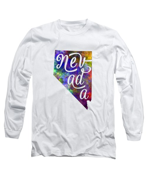 Nevada Us State In Watercolor Text Cut Out Long Sleeve T-Shirt