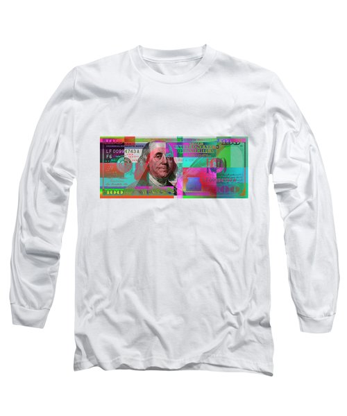 New 2009 Series Pop Art Colorized Us One Hundred Dollar Bill  No. 3 Long Sleeve T-Shirt