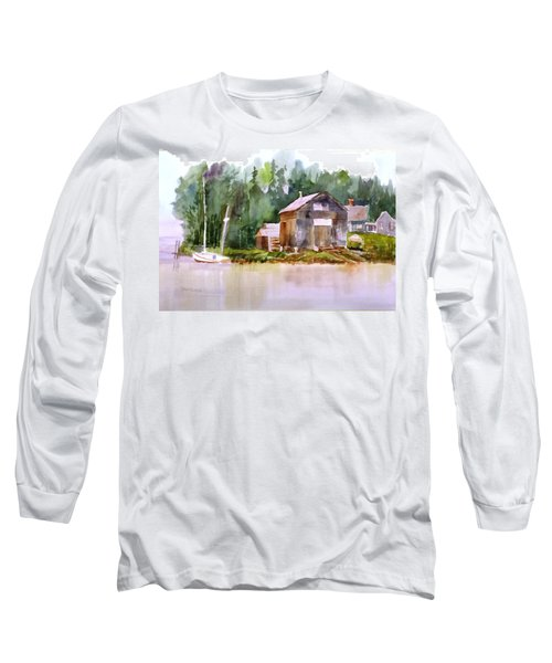 New England Boat Repair Long Sleeve T-Shirt by Larry Hamilton