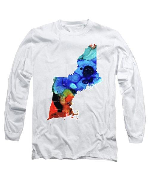 New England - Map By Sharon Cummings Long Sleeve T-Shirt