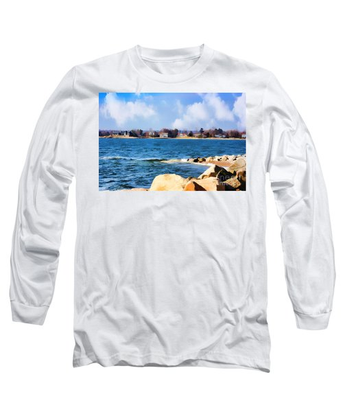 New England Shoreline - Painterly Long Sleeve T-Shirt by Judy Palkimas