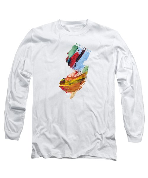 New Jersey Map Art - Painted Map Of New Jersey Long Sleeve T-Shirt