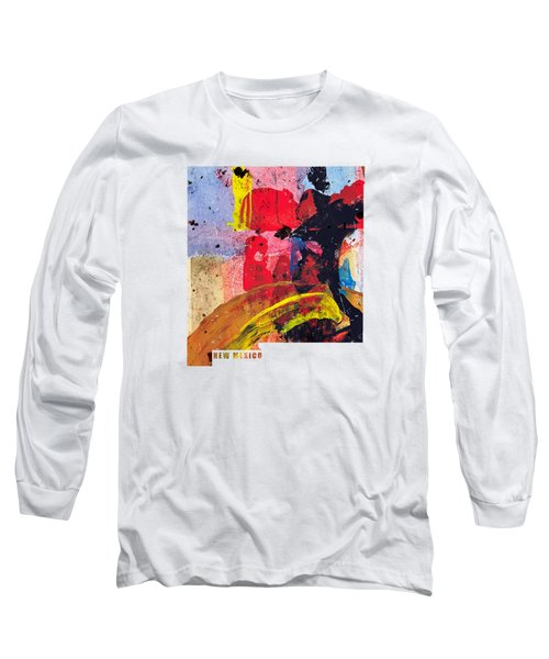 New Mexico Map Art - Painted Map Of New Mexico Long Sleeve T-Shirt