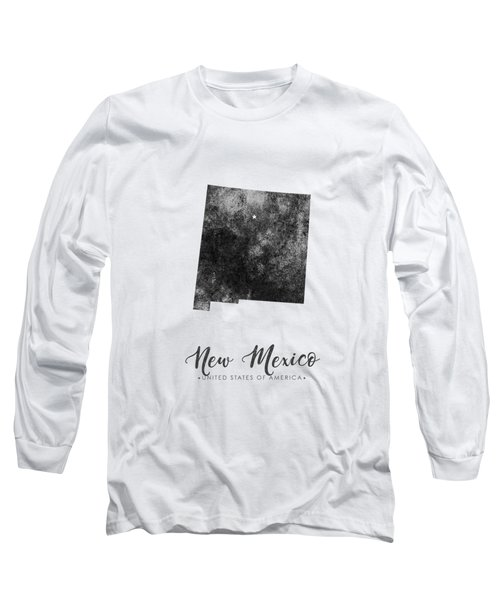 New Mexico State Map Art - Grunge Silhouette Long Sleeve T-Shirt