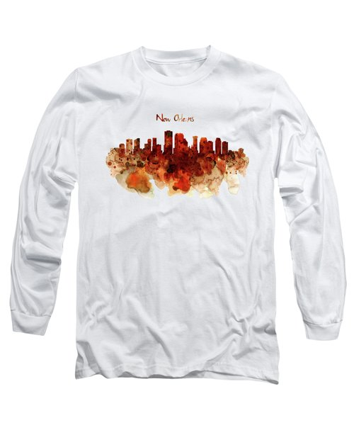 New Orleans Watercolor Skyline Long Sleeve T-Shirt by Marian Voicu