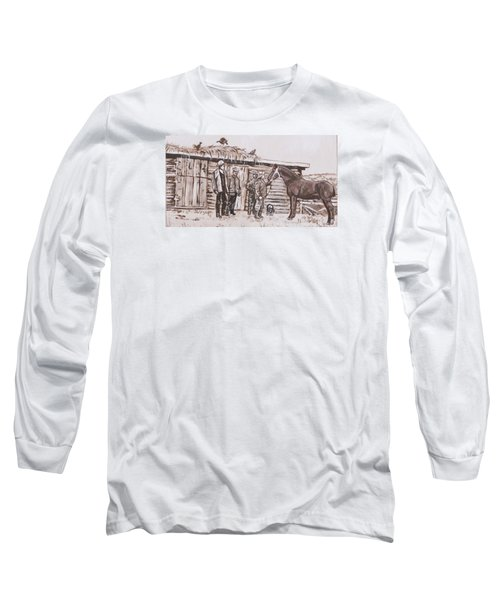Long Sleeve T-Shirt featuring the painting New Stallion At The Homestead Historical Vignette by Dawn Senior-Trask