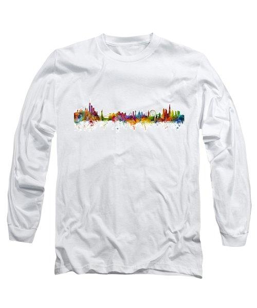 New York And London Skyline Mashup Long Sleeve T-Shirt