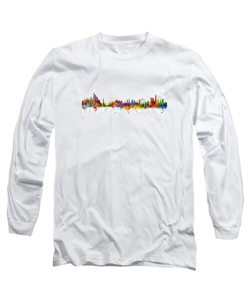New York And London Skyline Mashup Long Sleeve T-Shirt