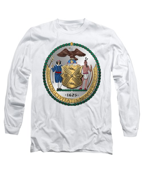 New York City Coat Of Arms - City Of New York Seal Over White Leather  Long Sleeve T-Shirt by Serge Averbukh