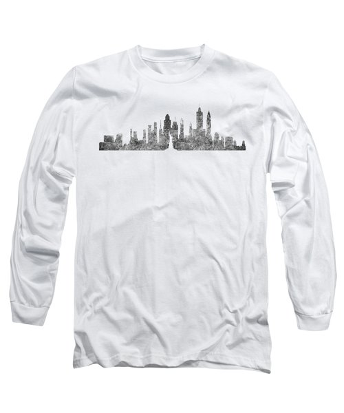 New York City Skyline B/w Long Sleeve T-Shirt by Anton Kalinichev