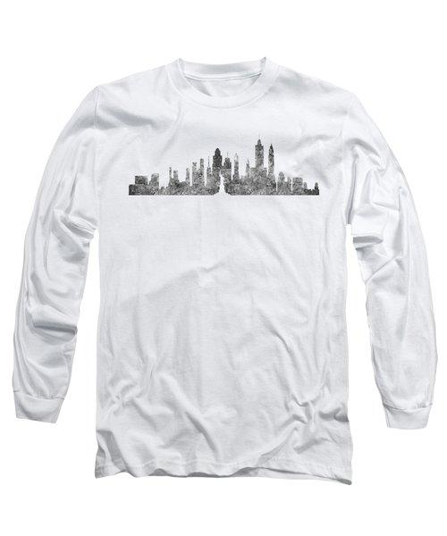 New York City Skyline B/w Long Sleeve T-Shirt