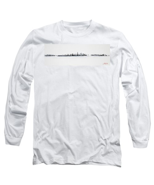New York City Skyline Black And White Long Sleeve T-Shirt