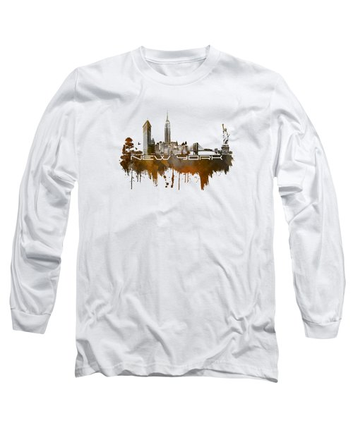 New York City Skyline Brown Long Sleeve T-Shirt by Justyna JBJart