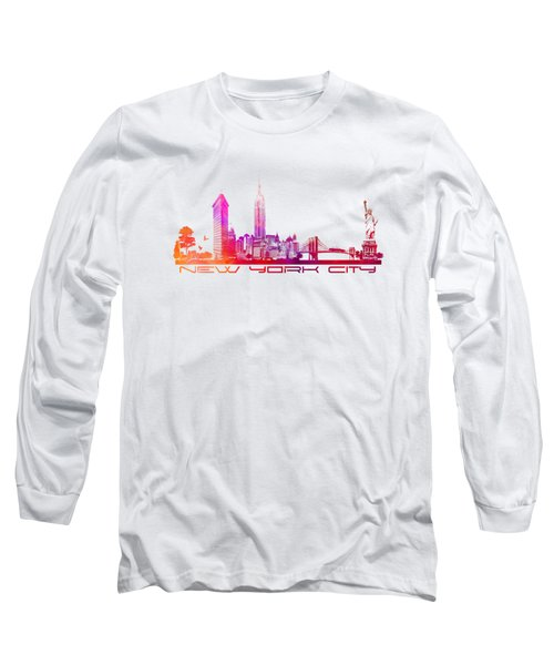 New York City Skyline Purple Long Sleeve T-Shirt by Justyna JBJart