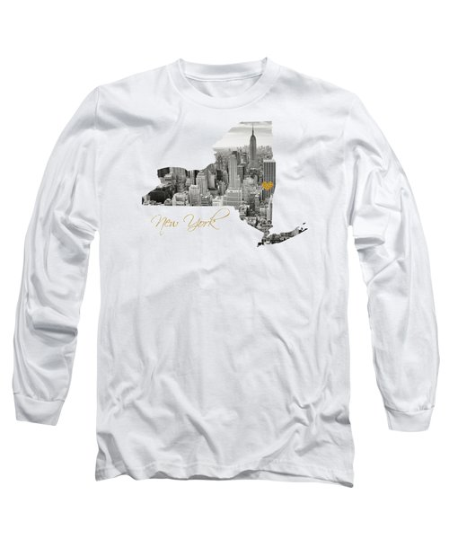 New York Map Cut Out Long Sleeve T-Shirt