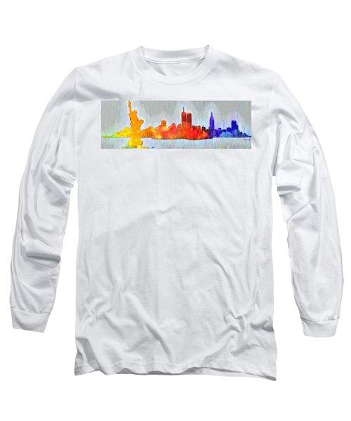 New York Skyline Old Shapes 3 - Da Long Sleeve T-Shirt