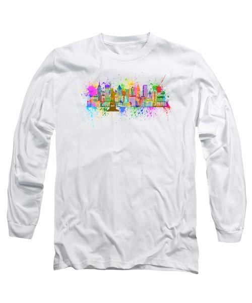 New York Skyline Paint Splatter Illustration Long Sleeve T-Shirt