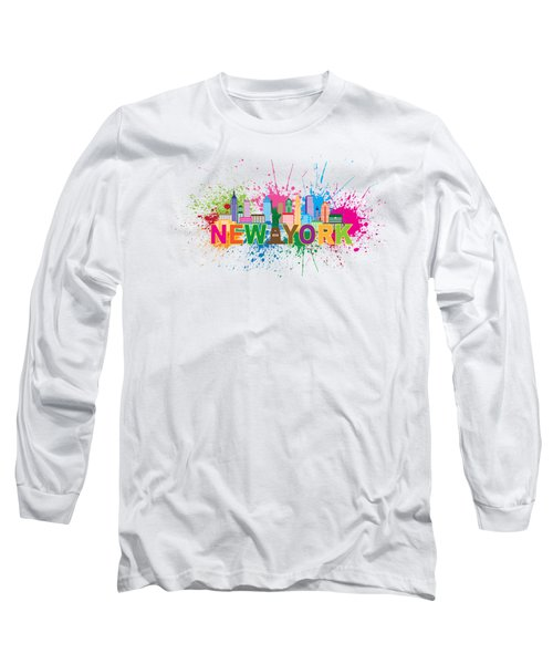 New York Skyline Paint Splatter Text Illustration Long Sleeve T-Shirt
