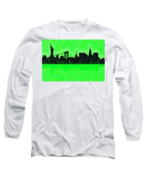 New York Skyline Silhouette Green - Da Long Sleeve T-Shirt