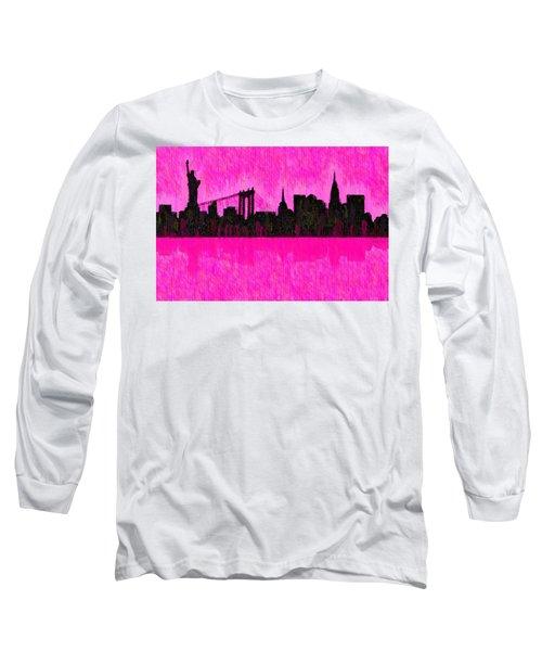 New York Skyline Silhouette Pink - Da Long Sleeve T-Shirt