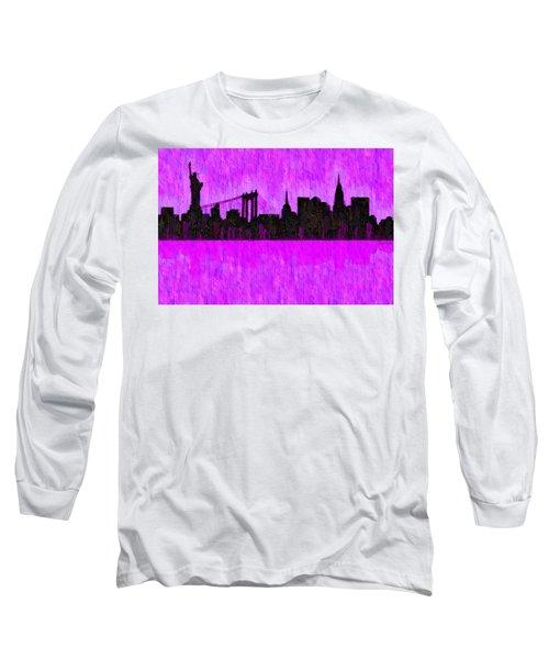 New York Skyline Silhouette Purple - Da Long Sleeve T-Shirt