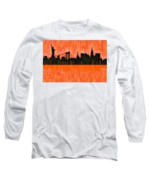 New York Skyline Silhouette Red - Da Long Sleeve T-Shirt