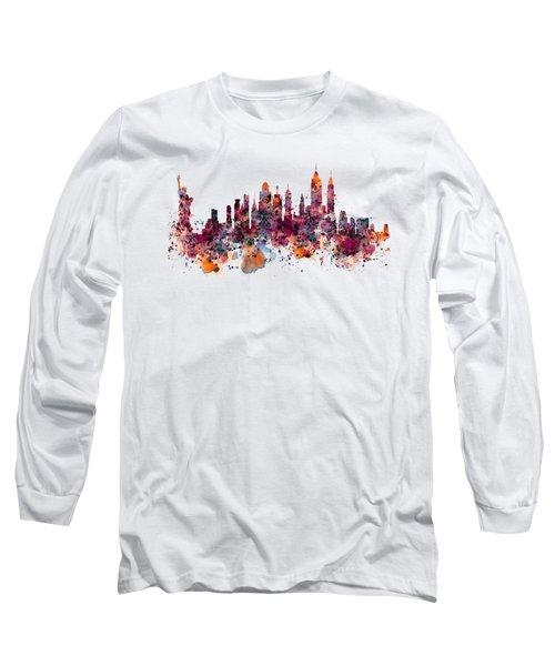 New York Skyline Watercolor Long Sleeve T-Shirt