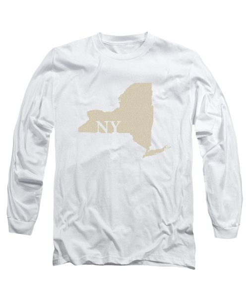 New York State Map With Text Of Constitution Long Sleeve T-Shirt