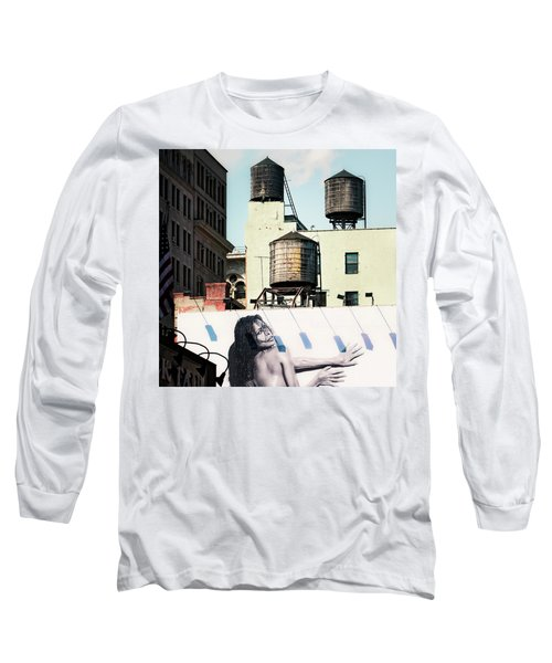 Long Sleeve T-Shirt featuring the photograph New York Water Towers 15 by Gary Heller